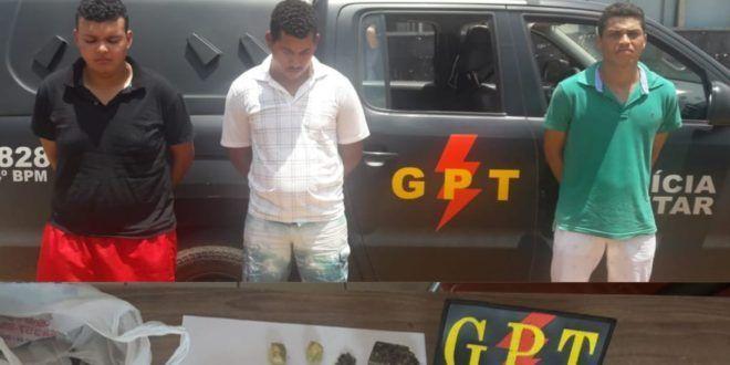 Policiais da GPT/COD prendem trio suspeitos de tráfico e estelionato em Uruaçu